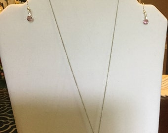 Necklace with Pink Swarovski Crystal Pendant and Earrings