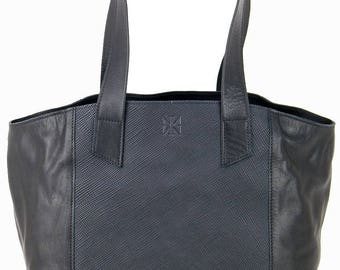 Women's Handbags Black Nappa Leather & linen leather