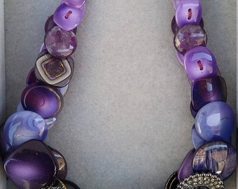 Purple reversible necklace with vintage buttons