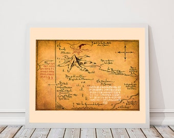 Tolkien map, middle earth map The Hobbit,Thorin's Map, Map of Erebor, Thrór's Map, fan art, Lord of The Rings map, canvas print, fantasy map