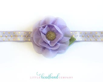 Purple & Gold Headband • Chiffon flowers • hair accessories for girls • photo prop • baby gifts • baby/child headband • adult headband