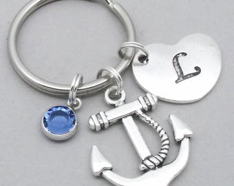 Anchor heart initial keyring | anchor keychain | personalised anchor keyring | anchor accessory | anchor gift | letter | birthstone