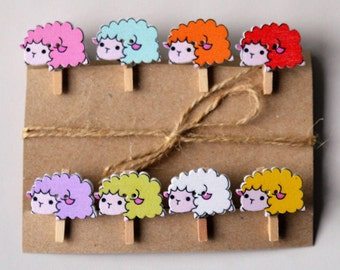 Cute sheep decorative wooden button mini pegs, magnets / string