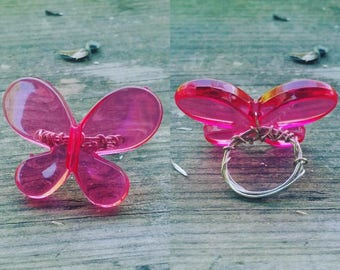 Plastic Butterfly Wire Wrapped Ring