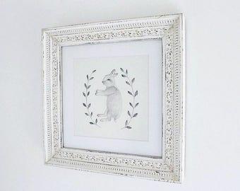"Bunny Rabbit Wreath Illustration, Original Artwork ""Afterlife"""