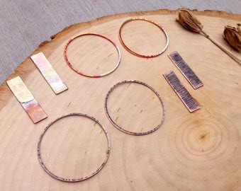Copper hoops and sticks - jewelry components