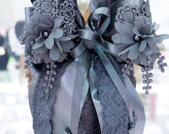 Black barrette bow hair clip and hairnet