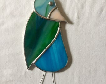Whimsical Stained Glass Bird Suncatcher
