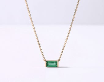Baguette Emerald Wedding Necklace Pendant Minimalist Modern Women Gemstone Birthstone Luxury Green Birthday Gift For Her