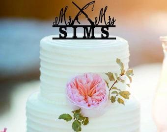 Fishing wedding cake topper /Mr and Mrs Wedding Cake Topper /Personlized Bride And Groom Cake Topper