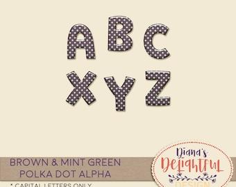 Brown and Mint Green Polka Dot Alpha