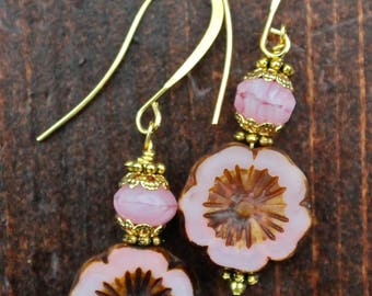 Pink Flower Earrings With Gold