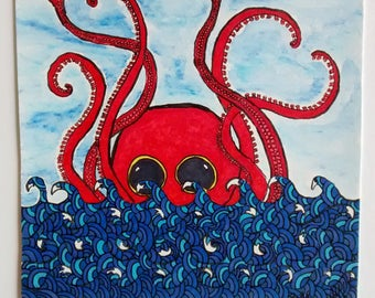 Little red Octopus in the sea