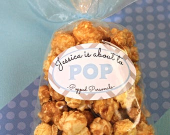 18 Custom Blue Baby Shower Caramel Popcorn Favors- She is about to Pop- Handmade Gourmet Caramel Popcorn