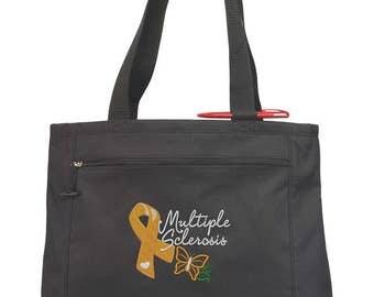 Multiple Sclerosis Awareness Tote Bag/ MS Awareness/ Embroidered MSBag/Multiple Sclerosis Fundraiser/ Multiple Sclerosis Awareness Ribbon