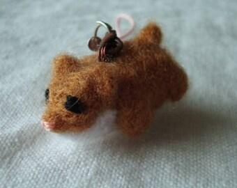 Needle felted miniature hamster plush keychain
