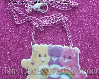 Retro Carebears Care Bears Bib Style Necklace with Rhinestone Detail