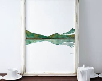 Mountains Lake Print, Abstract Landscape Art, Minimalistic Decor, Mountain Poster, Framed Print, Green Lake Painting, Lake Reflection Art