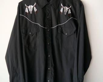 Vintage Western Pearl Snap Long Sleeve Shirt // Ely Diamond // Men's Large