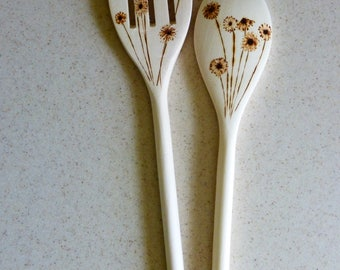 Wood Burned Wooden Spoons Pair: Spring Buds