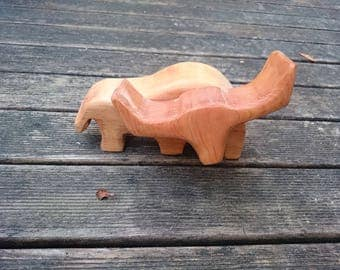 Wooden toy figure of Longhorn cow ox bull