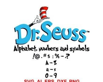 Dr. Seuss SVG Alphabet  Cat in the hat Svg, Dr Seuss Font,Svg,Eps,Dxf. INSTANT DOWNLOAD