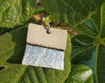 Cement and silver leaf pendant