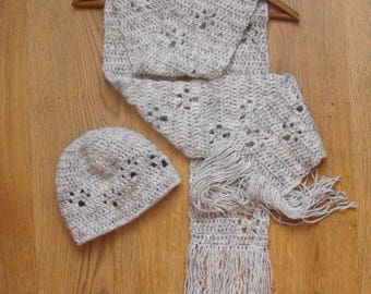 Handmade Pawprint Scarf and Beanie Hat Set - Adults crochet hat and scarf set with paw print detail - ideal gift
