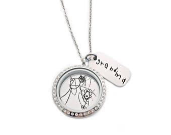 Handwriting Locket Necklace - Personalized Signature Jewelry - Actual Handwriting Necklace  - Personalized Children's Artwork Jewelry - 1295