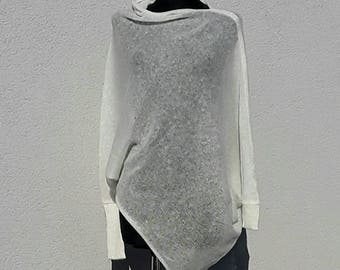 Sweater White Womens Sweater Loose knit Asymmetrical Design