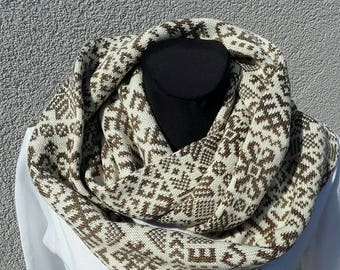 Scarf Holiday gift Circle Scarf Scarf Infinity Scarf Winter Scarf Wool Womens Winter Scarfs Men Scarfs Beige Brown