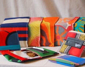 Upcycling tobacco pouches, eco-friendly from air mattress cotton of the 60s & 70s years, truck tarpaulin and tube case