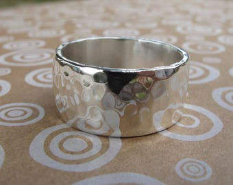 Wide sterling silver ring, hammered finish, 10 mm wide band