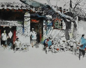 China Old Building Cultural (Mixed Media on Canvas)
