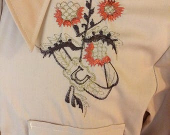 NOS Men's Chute Embroidered Western Shirt.  Pearl Snap.