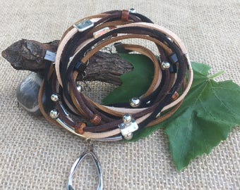 BOHO Brown, Tan and Black Suede Leather and Silver Plated Beads 4 Times Wrap Bracelet