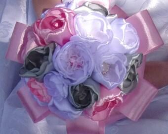 White, gray wedding bouquet and rose/Bridal Bouquet in satin/Wedding Bouquet kanzashi/satin/ribbon satin flowers