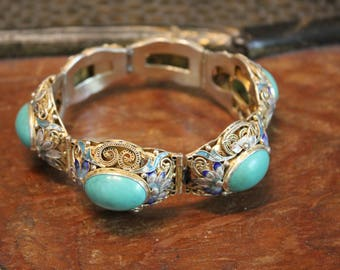 Antique Chinese Export Silver Filigree Turquoise Bracelet