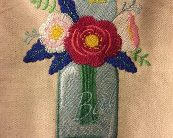 Custom machine embroidery, lovely mason jar flower bouquet suitable for framing or pillow