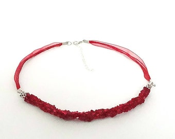 Handmade Crocheted Bead Necklace with Ribbons - Memet Fire Collection