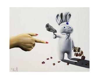 Pillsbury doughboy. Limited Edition. Print. chef. roses. poking. relationship. love. gun. cooking, gun, unforgivable. decoration. art.