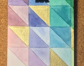 Hand Painted Geometric Watercolor Greeting Card - Original