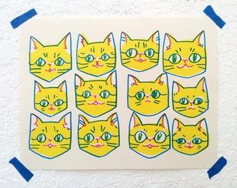 Yellow Cats Risograph Print