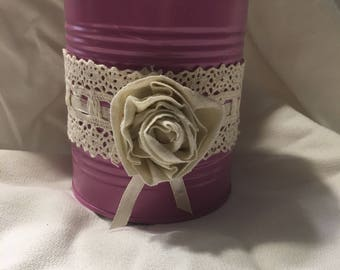 Pink Rose Tin Can Canister