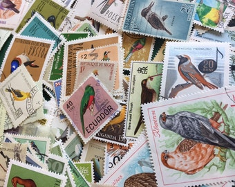 Vintage postage stamps (set of 50+)- topical collection- various birds- off paper