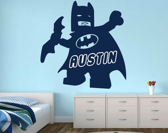 Name Batman Lego Wall Decal   Lego Movie Batman Wall Art   Kids Superhero  Justice League