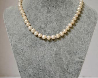 """Sterling Silver and White Fresh Water Pearl Necklace """"Star"""""""