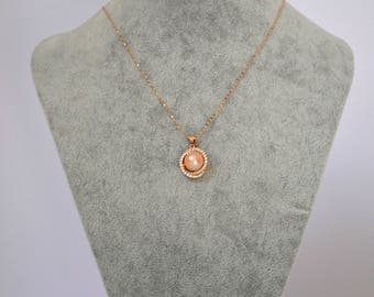 Rose Gold and Fresh Water Pearl Necklace