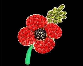 Ornate Remembrance Poppy Brooch