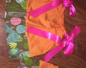 Orange Pillowcase Dress/Shirt Dolly and Me Set